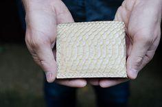 Men's Bifold Leather Wallet Alligator Print by MargaretVera