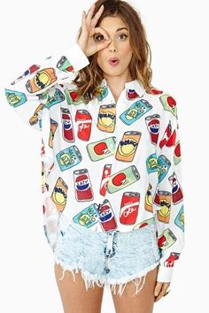 Nice Cans Crop Shirt by #LazyOaf