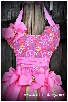 Hot Pink Peace Tutu hair bow holder.    Hair bow holder