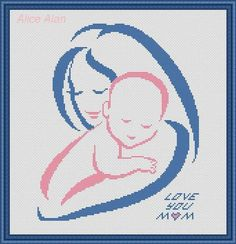 Silhouette of woman and childfor holiday of mother's от HallStitch Baby Cross Stitch Patterns, Cross Stitch Designs, Cross Stitch Heart, Modern Cross Stitch, Baby Embroidery, Cross Stitch Embroidery, Beading Patterns, Crochet Patterns, Love Blue
