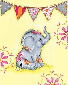 Elephant Print Elephant Girls Room Nursery by WallFlowerArtShop, $18.00