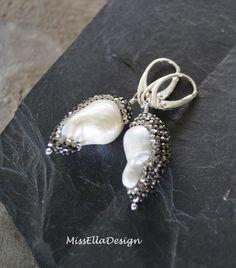 Perlenohrringe - Ohrhänger Barockperle Hämatin 925 Silber - ein Designerstück von edelsteinreich bei DaWanda