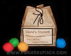 David and Goliath Bible Craft for Sunday School - David's Stones and Bag from www.daniellesplace.com