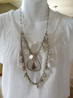 White Linen necklace with Easy Living enhancer