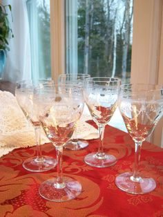 Vintage Etched Stem Ware Wine Glasses Set of 5 / 1940s Does Gilded Age / Downton Abbey Dinner Party Faux Fostoria Holiday Champagne Goblets by ladylovesgreen on Etsy