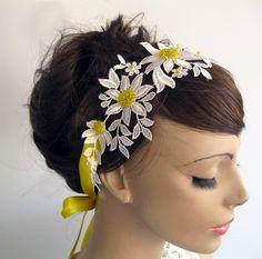 Daisy Bridal Headband / Wedding Dress Belt with Yellow Satin Ribbon. Handmade. $43.00, via Etsy.