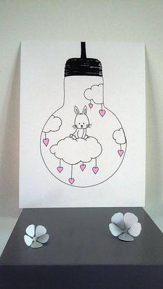 Affiche Illustration ampoule je vole lapin sur