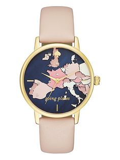 """travel the world every time you check your watch with the map-print dial of this kate spade new york metro watch, accented with jeweled map markers and the reminder that you're """"going places."""" a gold-"""