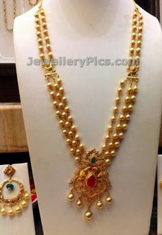Latest Design Of Gold Necklace pearl and gold jewellery designs - latest jewellery pwvqcur - Jewelry Amor Indian Jewellery Design, Latest Jewellery, Indian Jewelry, Jewelry Design, Indian Necklace, Ruby Necklace, Ball Necklace, Earrings, Bridal Jewelry