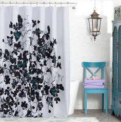 Black White Teal Flower Nature Artistic Flocked Fabric Shower Curtain Kensie Contemporary Curtains
