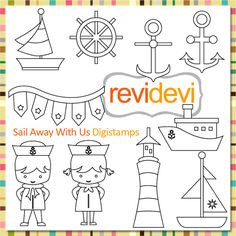 Nautical digital stamps. Great for card making, digitized embroidey pattern, coloring, and more fun porjects!