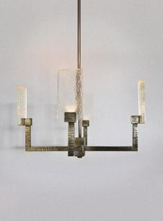 """The """"Paris"""" Chandelier, handcrafted in Southern California by Magni Home Collection, features a cast glass shade with a cast bronze arm hand chiseled d. Luxury Lighting, Custom Lighting, Shop Lighting, Chandelier Lighting, Chandeliers, Ceiling Pendant, Ceiling Lights, Glass Furniture, Modern Furniture"""