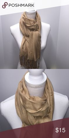Gold Scarf This gold scarf I found hidden in my closet can't remember using it. Still vibrant in the color Gold! 🌸 Measurements are available upon request. 🌸 Accessories Scarves & Wraps