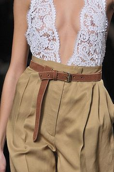 Source: unknown #runway #lace #tailoredpants