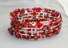 Red beaded wire wrapped cuff bracelet holiday by mvtreasures, $20.00