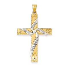 Jewels By Lux 14K Yellow Gold 28x18mm Cross Pendant with Design