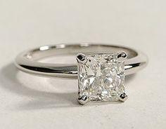 3 carat, princess cut diamond on a solitaire platinum band