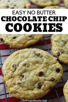 Get this easy no butter chocolate chip cookie recipe – it will come to the rescue when you don't (or can't) have butter! These delicious chocolate chip cookies without butter save the day. My best butter free chocolate chip cookie recipe. Chocolate Chip Cookie Recipe No Butter, Chocolate Chip Pudding Cookies, Homemade Chocolate Chip Cookies, Chocolate Chip Recipes, Chocolate Chip Oatmeal, Biscuit Recipe No Butter, Oatmeal Cookies Without Butter, No Butter Cookies, Cookie Recipes Without Butter