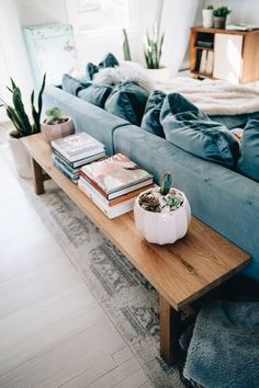 Home: Design & Decor Jess Ann Kirby styles her living room with stylish pieces like a terracotta pot Teenage Room Decor, Living Room Inspiration, Home Decor Inspiration, Decor Ideas, Living Room Designs, Living Spaces, Cozy Living Rooms, Blue Couch Living Room, Living Room Styles