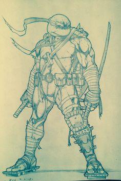 Leonardo sketch Teenage Ninja Turtles, Ninja Turtles Art, Comic Books Art, Comic Art, Ninja Turtle Drawing, Character Drawing, Character Design, Batman Ninja, Batman Drawing