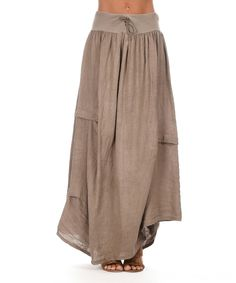 Look at this Couleur Lin Taupe Maurine Linen Maxi Skirt on #zulily today!
