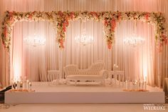 The Perfect Persian-Meets-Western Wedding - WedLuxe Magazine Reception Stage Decor, Wedding Backdrop Design, Desi Wedding Decor, Wedding Hall Decorations, Wedding Stage Design, Wedding Reception Backdrop, Backdrop Decorations, Wedding Mandap, Stage Decoration For Wedding