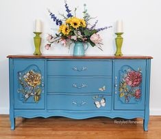 A gorgeous buffet sideboard for some clients. I stripped the top and stained in a beautiful color they chose. The paint is not one color, it is a mix of different colors as I do a lot of mixing of paints.  The transfers are IOD transfers. The flowers are from ladies in waiting iod transfer.  I create custom pieces and ship all through the US. Email me through my website if you have questions. Floral Furniture, Custom Furniture, Iron Orchid Designs, Lady In Waiting, Vintage Dressers, Chalk Paint Furniture, Shabby Chic Style, Diy Painting, Buffet