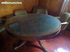 #mesa #antiguedades #nogal MESA REDONDA COMEDOR  Y SILLONES.  - foto 1