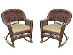 Set of 2 Honey Brown Woven Resin Wicker Outdoor Patio Rocker Chairs  Tan Cushions -- Details can be found by clicking on the image.  This link participates in Amazon Service LLC Associates Program, a program designed to let participant earn advertising fees by advertising and linking to Amazon.com.