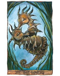 Tarot Card Art Print The Lovers Seahorse Animal Illustration by rainbowofcrazy