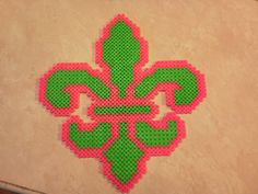 Pink and Green Large Fleur-de-lis by Lynzie