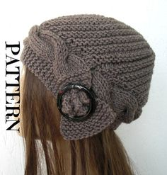 Womens Hat - Hand Knit Turban Hat Cloche Hat in taupe with black buckle cable knit Autumn winter Fashion Accessories Fall fashion Cable Knit Hat, Winter Hats For Women, Women Hats, Cloche Hat, Knit Or Crochet, Hand Knitting, Knitted Hats, Knitting Patterns, Creations