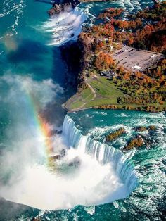Birds-eye view of Niagara Falls (Horseshoe Falls at the bottom, the American Falls at top) - Niagara Falls were formed when glaciers receded at the end of the Wisconsin glaciation (the last ice age), and water from the newly formed Great Lakes carved a path through the Niagara Escarpment en route to the Atlantic Ocean.
