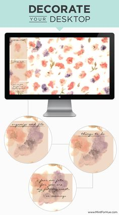 FREE Decorate your Desktop: April 2014. I created a springy floral watercolor wallpaper background for you all to enjoy! www.MintForHue.com | Graphic Designer | Eau Claire, WI