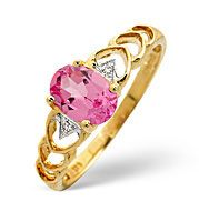The Diamond Store.co.uk Created Pink Sapphire and 0.01CT Diamond Ring 9K Yellow Gold Created Pink Sapphire amp
