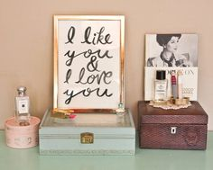 Typographic Print - Hand Lettering - I LIKE YOU -  Illustration Print  - Love Quote - Black and White - Romantic