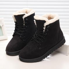 Womens Ankle Fleecy Plush Warm Lined Winter Grip Casual Pull On Boots GB_9958