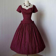 1950's berry polka dot party dress