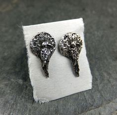 Raven in the Moon Recycled Sterling Silver Stud by byAngeline, $60.00