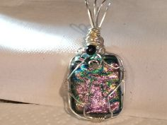 Wire wrapped fused glass pendant with pink and green by fusedglassbyjemima, $35.00