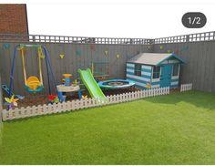Childrens Play Area Garden, Toddler Play Area, Baby Play Areas, Kids Outdoor Play, Outdoor Play Areas, Small Garden Play Area Ideas, Small Yard Kids, Kids Yard, Kids Backyard Playground