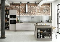 The Eton Matt Dove Grey gives balance between practicality and style. Matt kitchens are very much on-trend at the moment Benchmarx Kitchen, Open Plan Kitchen Diner, Shaker Kitchen, Kitchen Design, Kitchen Ideas, Smart Kitchen, Grey Shelves, Victorian Kitchen, Grey Kitchens