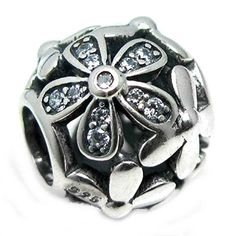 Sterling Silver Daisy Flower Blossom Cubic Zirconia European Style Bead Charm >>> Be sure to check out this awesome product.