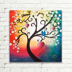Wedding Art Love Birds Home Decor Romantic Painting Whimsical Bedroom Gift For Couples