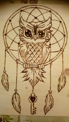 Wonderful owl and dream catcher pyrography
