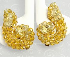 Champagne Colored Crystal Paisley Earrings Signed COPPOLA e TOPPO