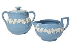 "Vintage ""Queens Ware"" cream jug and sugar bowl by Wedgwood, England"