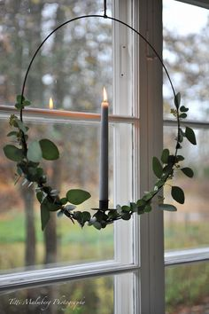 Candlelit eucalyptus wreath in window!! - HWIT BLOGG