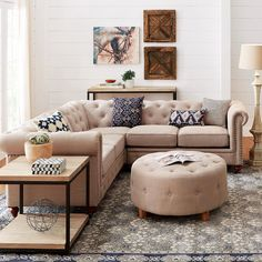 This chesterfield-style sectional is everything. Link in bio to shop! #hdcstyled #livingroom #chesterfieldstyle #gottahaveit #sectionalseating by homedecorators