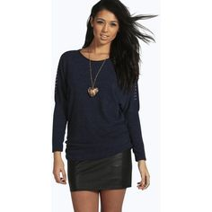 Boohoo Ella Studded Shoulder PU Trim Jumper With Necklace ($26) ❤ liked on Polyvore featuring tops, sweaters, navy, navy blue turtleneck sweater, nordic sweater, chunky sweater, navy turtleneck sweater and chunky turtleneck sweater